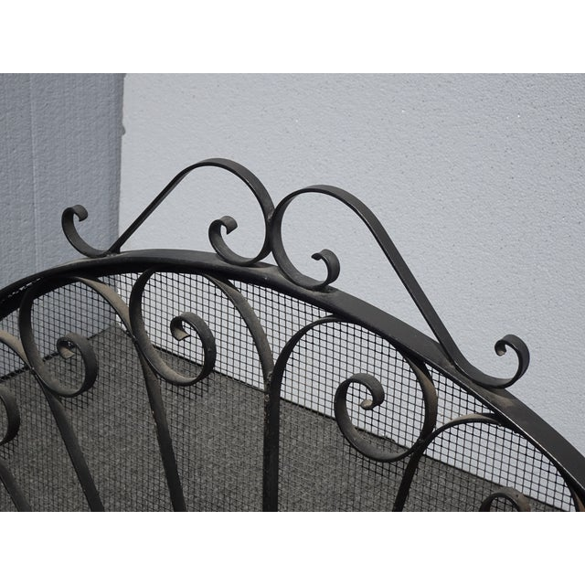 Metal Vintage Spanish Style Black Metal Fireplace Screen W Scrolls For Sale - Image 7 of 13