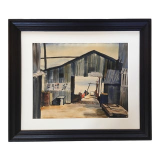 Monterey Docks Watercolor Painting by Carmel Artist Virginia Gill, C-1930'sFramed For Sale