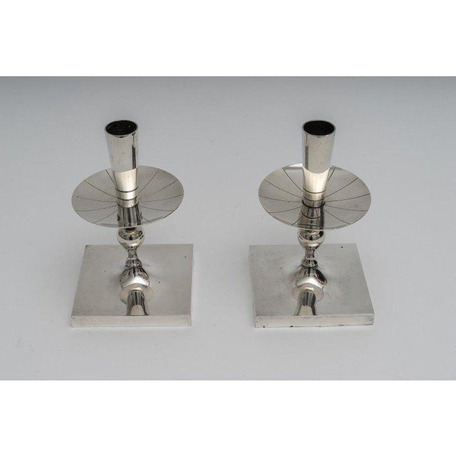 Silver Plated Candlesticks by Tommy Parzinger - a Pair For Sale - Image 9 of 13