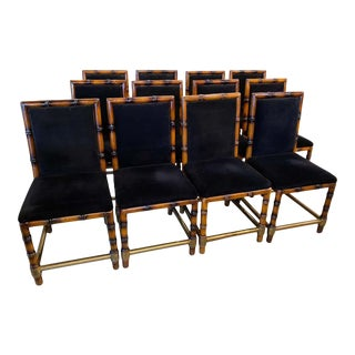 Dining Chairs of Faux Bamboo and Brass, France - Set of 12 For Sale