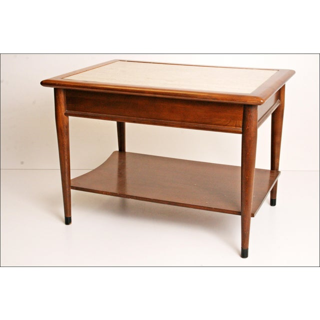 Danish Modern Wood Stone Top End Tables - Pair - Image 8 of 11