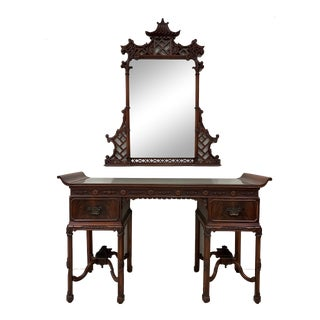 Chinese Chippendale Dressing Table and Pagoda Mirror For Sale