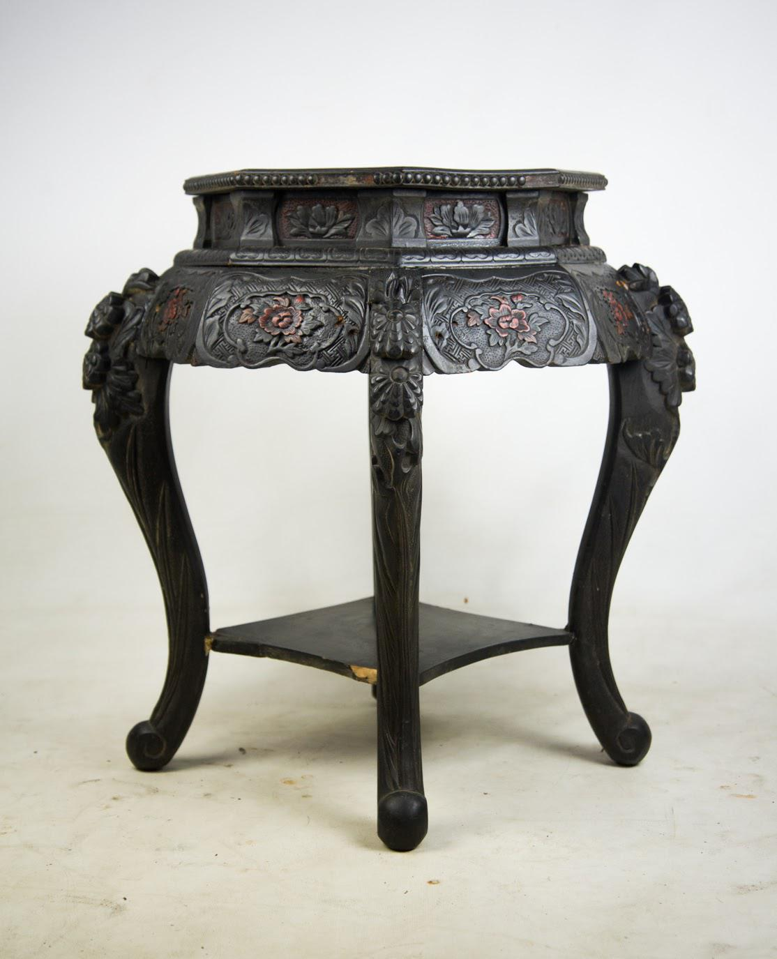 Beau Antique Hand Carved Chinese Side Table   Image 2 Of 9