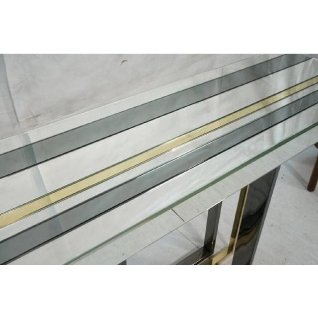 1970s Mid-Century Modern Tri Color Striped Mirror Console Table For Sale In Houston - Image 6 of 9