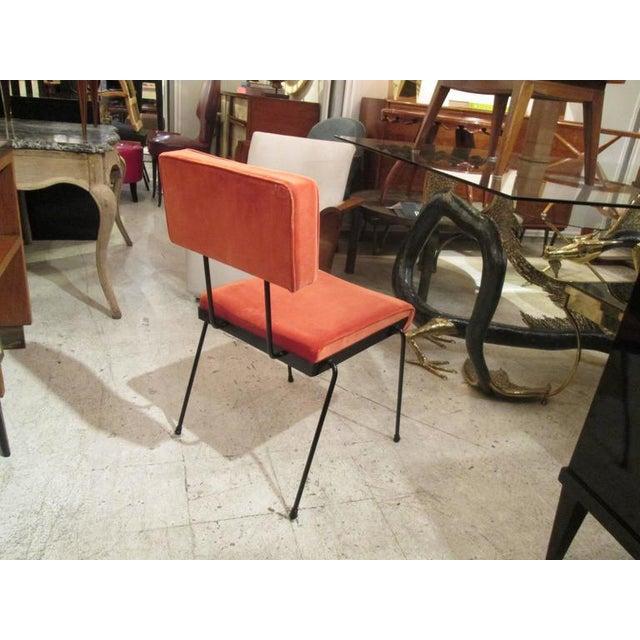 Italian Set of Four Italian, Velvet-Upholstered Iron Chairs For Sale - Image 3 of 4