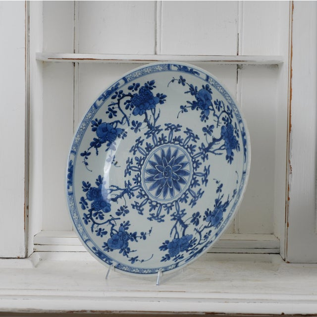 17th Century Antique Chinese Porcelain Blue and White Deep Charger Bowl Ceramic For Sale In New York - Image 6 of 12