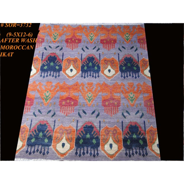 """Hand Knotted Ikat Rug by Aara Rugs Inc. 12'5"""" X 9'5"""" For Sale - Image 4 of 7"""
