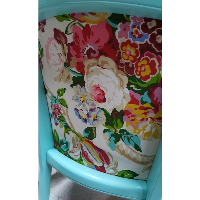 Mid-Century Blue Floral Chairs - A Pair - Image 6 of 10