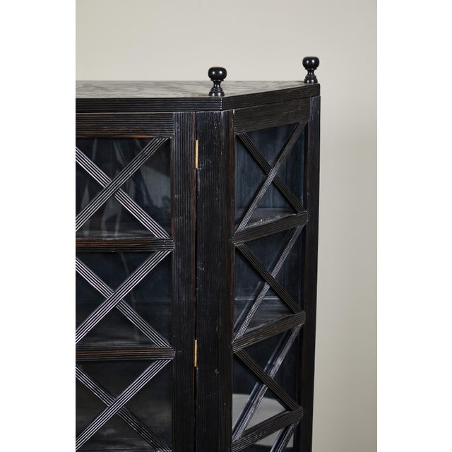 20th C. Ebony British Colonial 2-Door Display Cabinet For Sale - Image 4 of 11