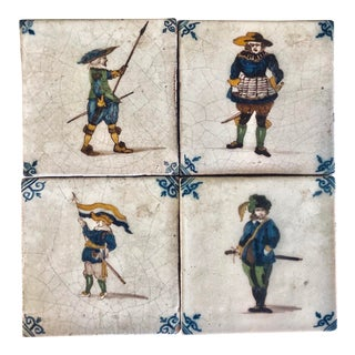 19th Century Delft Wall Tiles of the Four Musketeers, Netherlands - Set of 4 For Sale