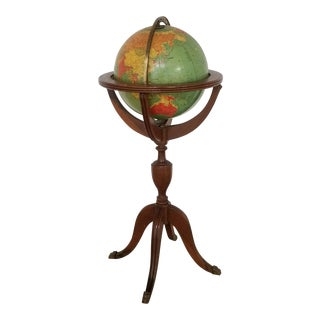 1960's Reglogle Illuminated Glass Floor Globe For Sale