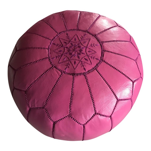 Moroccan Pink Leather Pouf - Image 1 of 6
