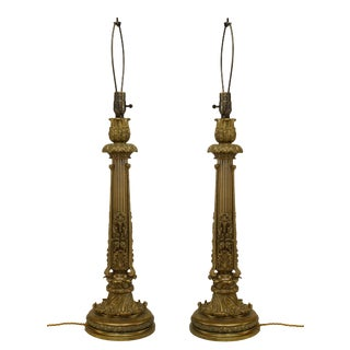 English Victorian Brass Table Lamps-A Pair For Sale