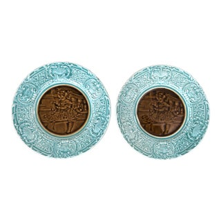 French Majolica Turquoise Portrait Center Plates- a Pair For Sale