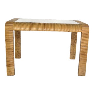 1970s Boho Chic Wicker Console/Coffee Table For Sale