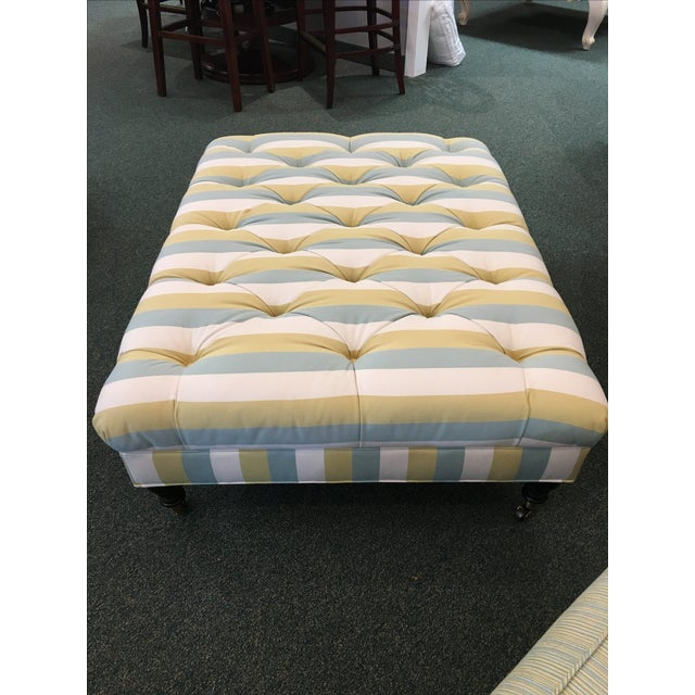 Striped Tufted Ottoman For Sale - Image 4 of 7