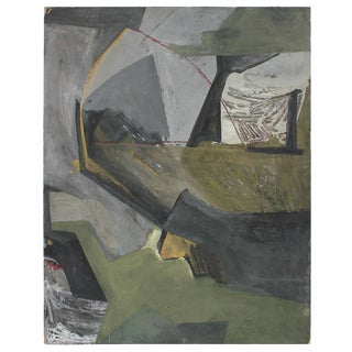 Jack Freeman 1960s Abstract Expressionist Painting in Cool Tones of Gray and Green Circa 1960s For Sale