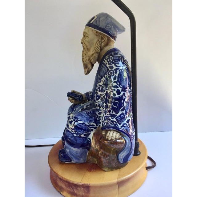 Vintage Blue Amp White Chinese Mud Man Figurine Lamp Chairish