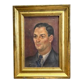 Vintage Signed Oil on Canvas Portrait of a Handsome Man Gilt Gold Frame 1942 Painting For Sale