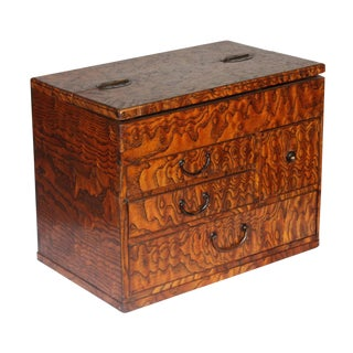 1920s Japanese Mulberry Wood Jewelry Box For Sale