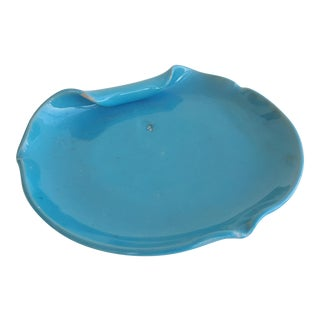 Mid Century Italian Turquoise Pottery Ashtray For Sale