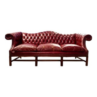 1930s Vintage Blood Red Leather Chesterfield Sofa For Sale