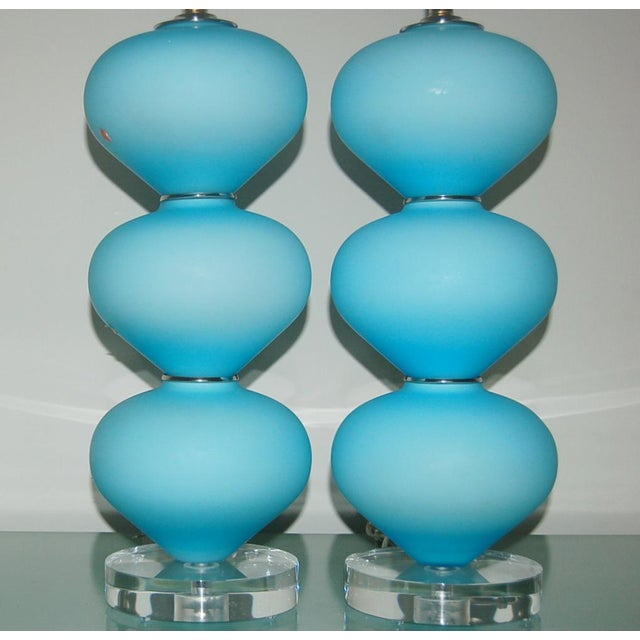 Vintage Murano Glass Stacked Table Lamps Blue Satin For Sale In Little Rock - Image 6 of 9