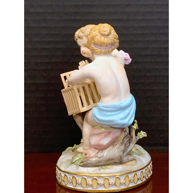 19th Century Meissen Grouping of Two Boys With Rooster and Cage For Sale - Image 9 of 11