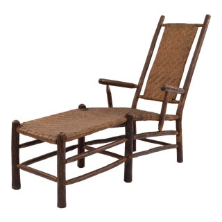 Rustic Old Hickory Rattan Chaise Lounge For Sale