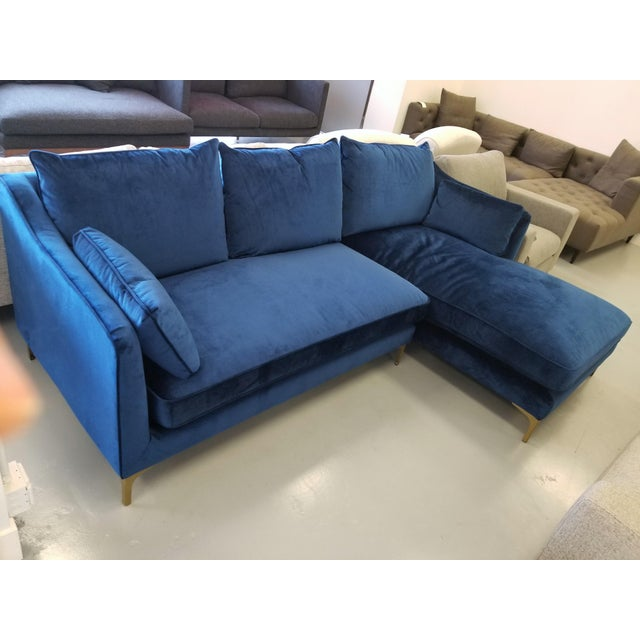 Fabulous Navy Blue Velvet Sectional Sofa With Right Chaise Onthecornerstone Fun Painted Chair Ideas Images Onthecornerstoneorg