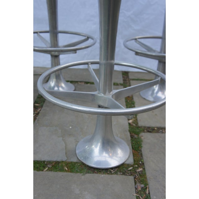 Mid-Century Modern Green Floor Anchored Bar Stools - Set of 5 For Sale In Washington DC - Image 6 of 12