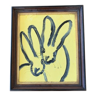 """2021 """"Milkweed"""" Contemporary Bunny Oil Painting by Hunt Slonem, Framed For Sale"""