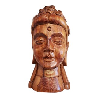 Buddha Head Wood Bust For Sale
