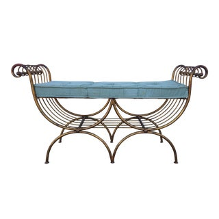 Vintage Italian Gold Gilt Bench