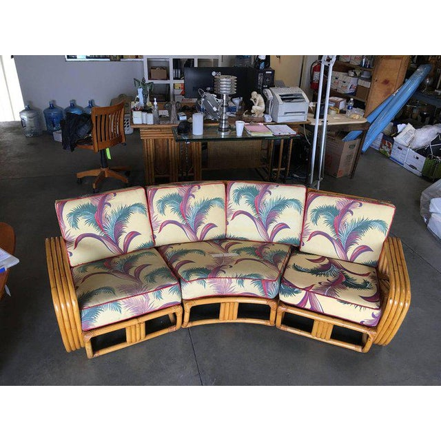 1950s Restored Paul Frankl Four Strand Rattan Four-Seat Corner Sectional Sofa For Sale - Image 5 of 9