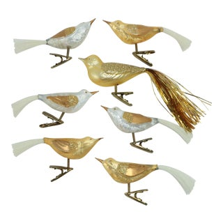 Gold & White Blown Glass Clip Bird Ornaments - Set of 7 For Sale