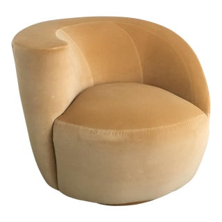 Vladimir Kagan for Directional Nautilus Swivel Chair Upholstered in Kravet Gold Velvet
