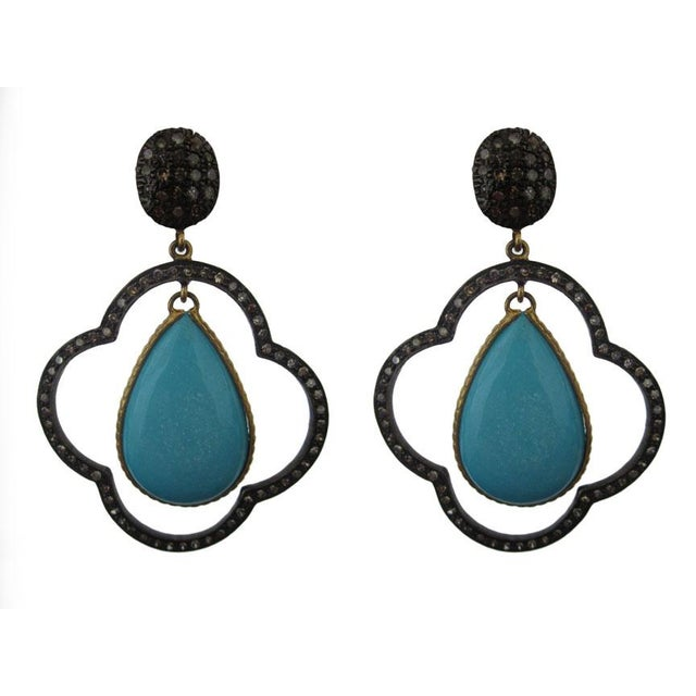Early 21st Century Moroccan Inspired Sterling Silver Diamond and Turquoise Earrings For Sale - Image 5 of 5