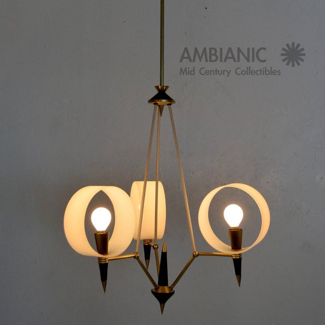 Mid-Century Modern Italian Chandelier With Three Arms For Sale - Image 10 of 10