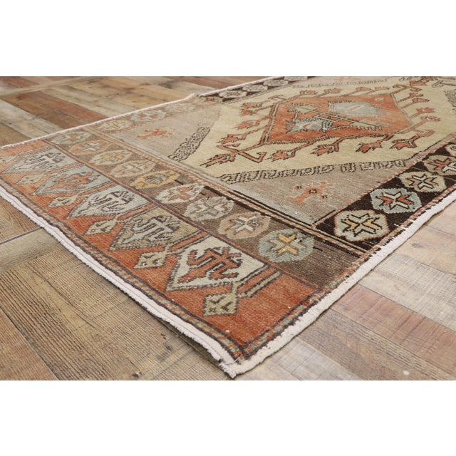 Vintage Turkish Oushak Runner - 3′7″ × 11′7″ For Sale In Dallas - Image 6 of 10