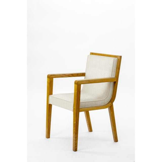 Mid-Century Modern Maxime Old Pair of Refined Oak Arm Chairs(attributed) For Sale - Image 3 of 5