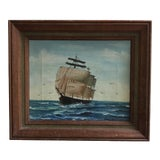 Image of 1950s Nautical Seascape Painting, Framed For Sale