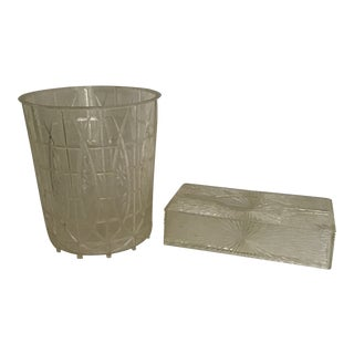 Lucite Plastic Trash Basket Can & Tissue Holder - 2 Pc. Set For Sale