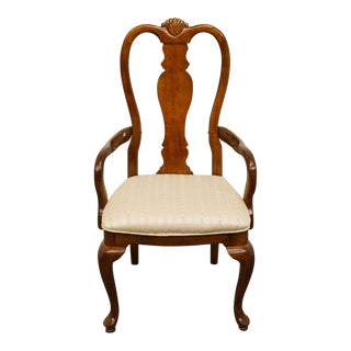 Late 20th Century Vintage Bernhardt Furniture Solid Cherry Queen Anne Arm Chair For Sale