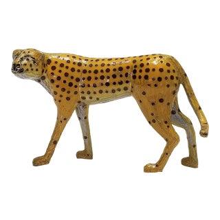 Vintage Chinese Cloisonne Enamel and Brass Cheetah Sculpture - Mid Century Modern MCM Palm Beach Boho Chic Tropical Coastal Animal Figurine For Sale