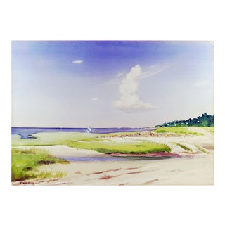 Rock Beach, Cape Cod Watercolor Painting For Sale