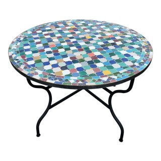 "Moroccan 48"" Round Mosaic Table, Multicolor Patchwork For Sale"