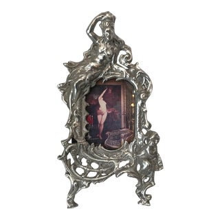 French Art Nouveau Silver Metal Frame For Sale