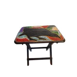 African Beaded Wood Folding Accent Table Ghana