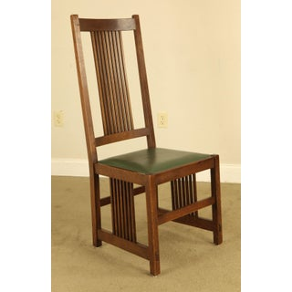 Stickley Mission Collection Oak Spindle Chair With Leather Seat Preview